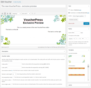 Preview of VoucherPress 2.0 editor