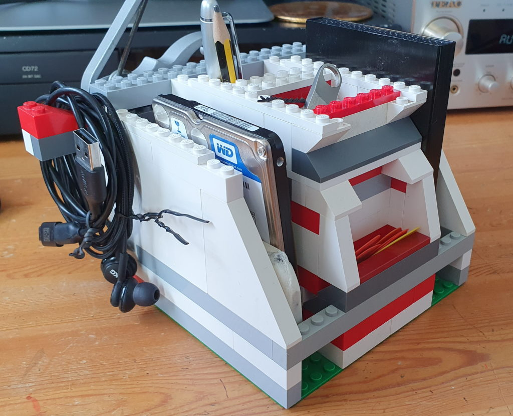 Backup drive storage in my LEGO desk tidy